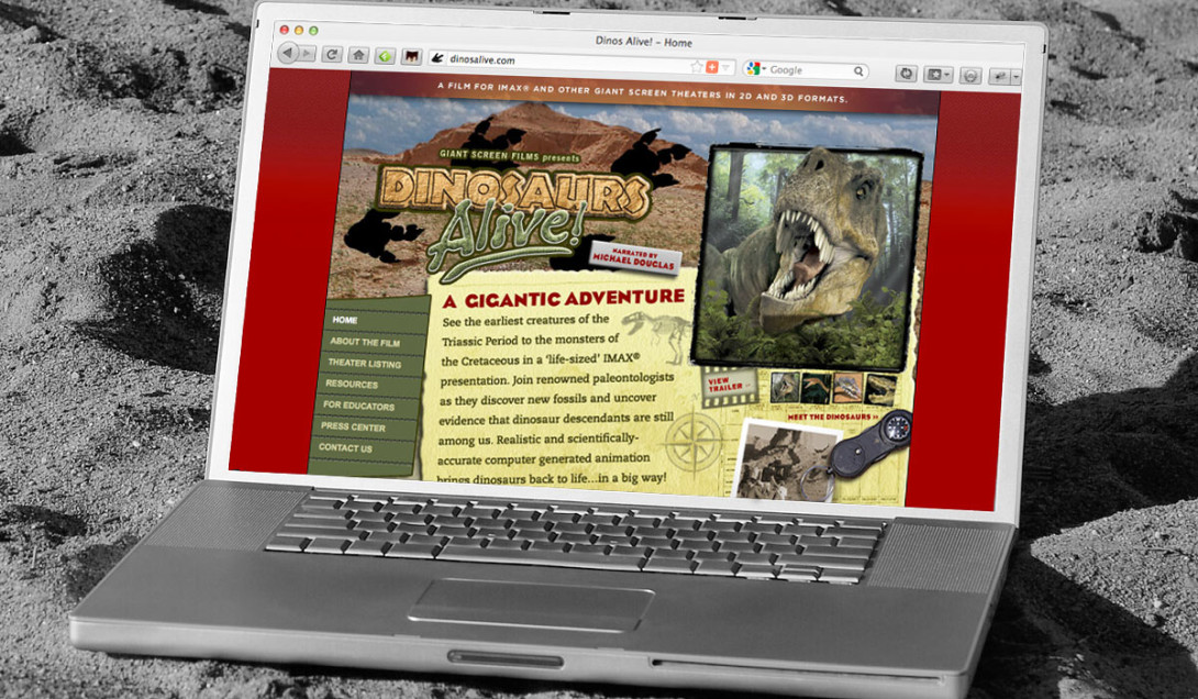 Dinosaurs Alive! Portfolio Thumbnail Image by Studio 23 | Lee Willett, Creative Director | Web Design and Development | Westchester, New York