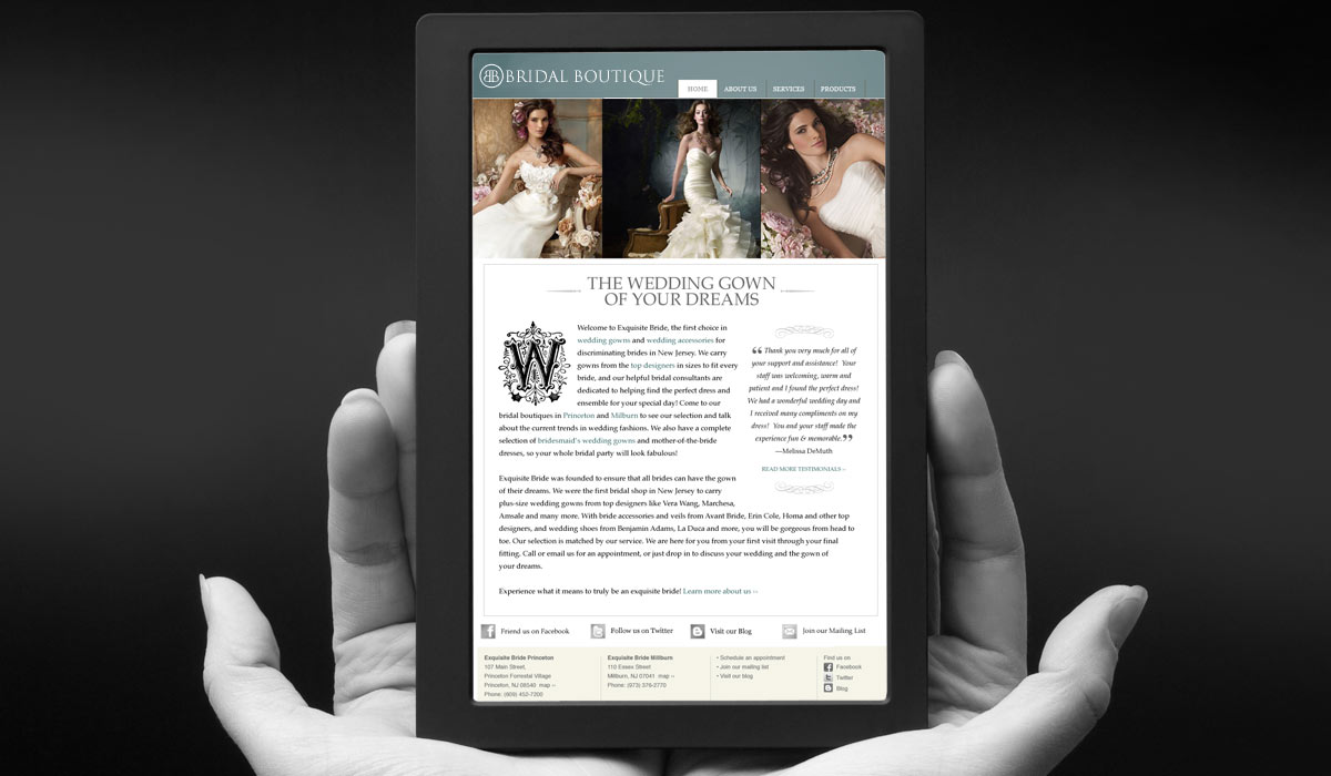 Bridal Boutique Website Design by Lee Willett / Studio 23