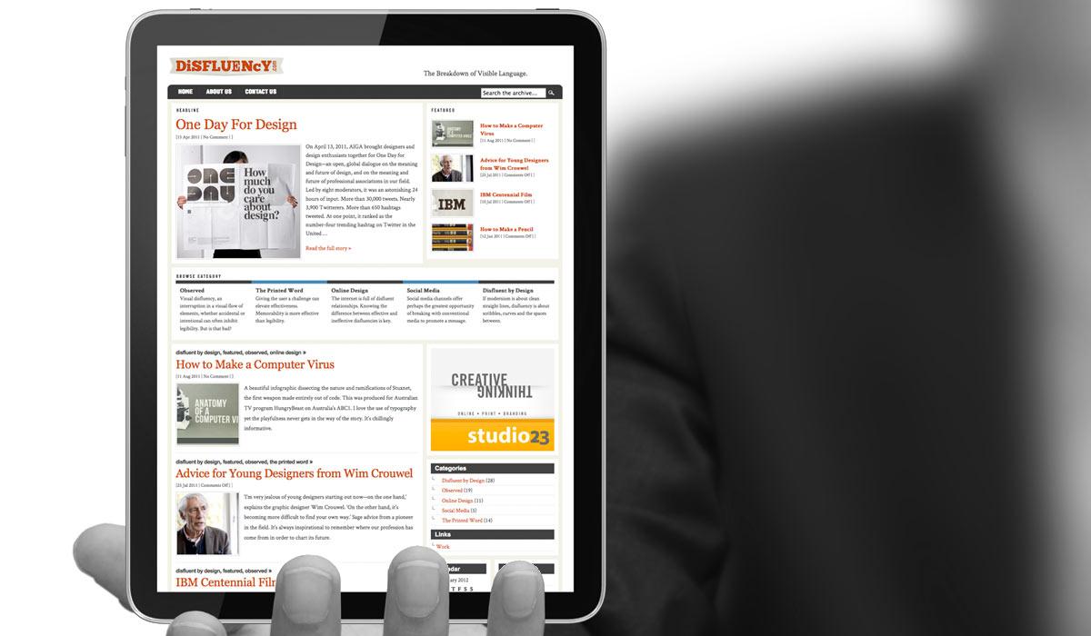 Disfluency Web Magazine Design by Lee Willett / Studio 23