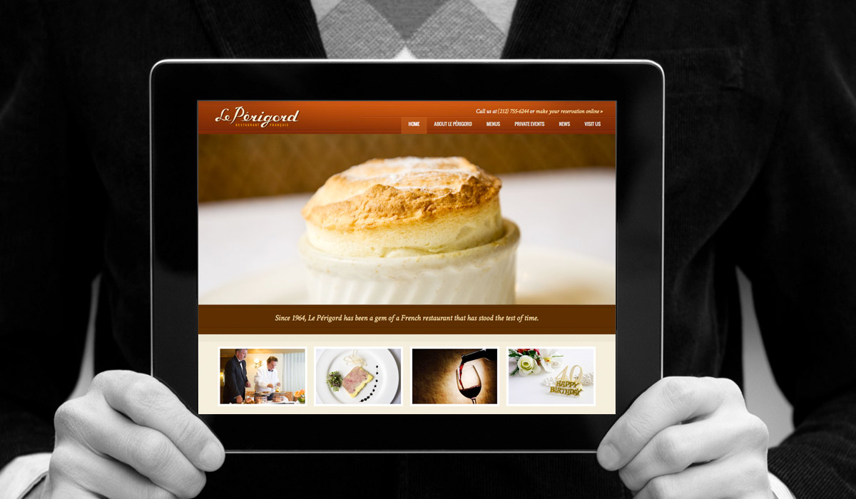Le Perigord restaurant website by Studio 23 / Lee Willett